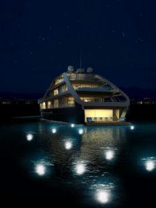 Alcuni rendering dello Yacht Jolly Roger, si notano le particolari potenze che regalano alla composizione attraenti elementi funzionali ed estetici.