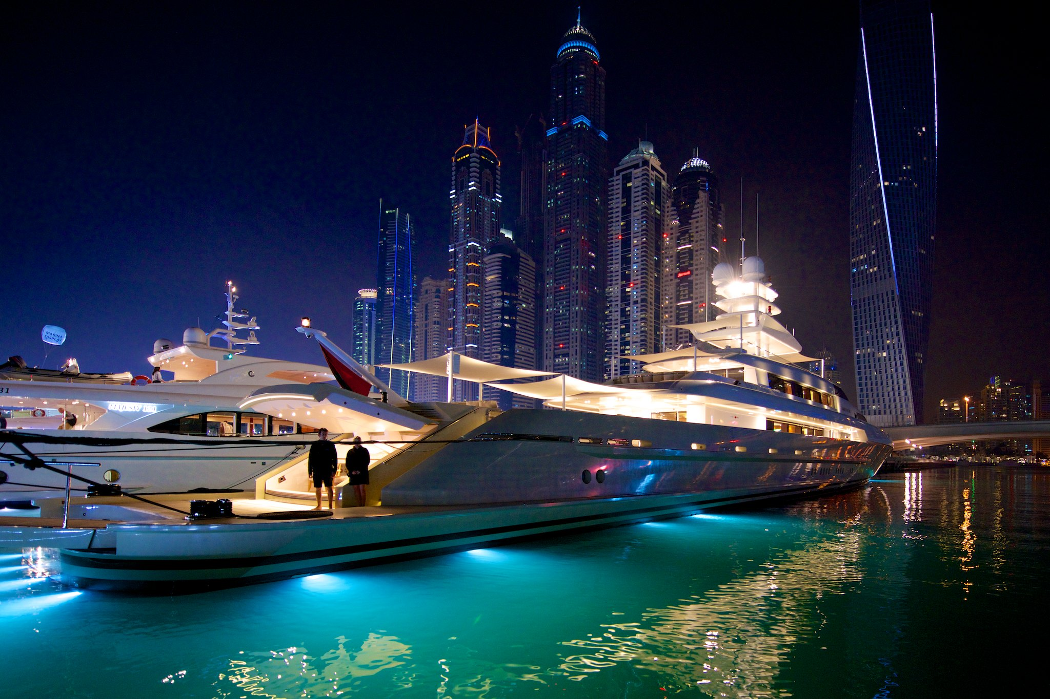 Luxury Yachts with Skyscraper City at the Dubai International Boat ...
