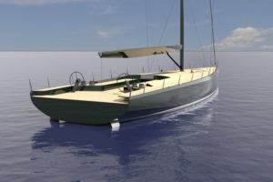 A render of Mills 73 Maxi Dolphin