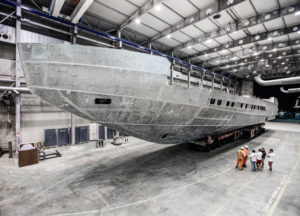 Pershing 140 hull under construction