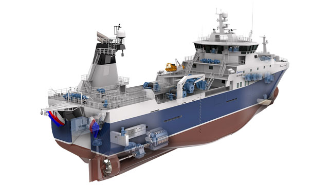 An innovative stern trawler designed and equipped by Rolls-Royce
